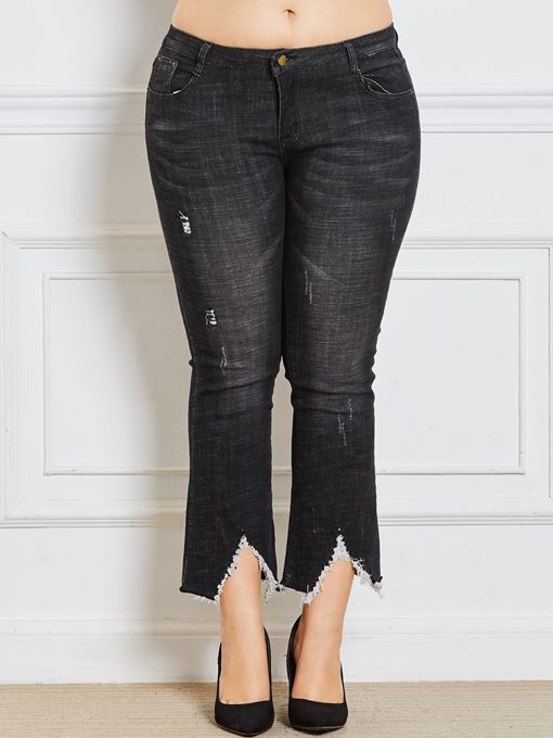 Ericdress Plus Size Bellbottoms Hole Loose Jeans