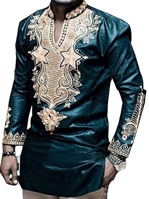Ericdress Dashiki African Fashion Print V-Neck Vogue Men's Shirt