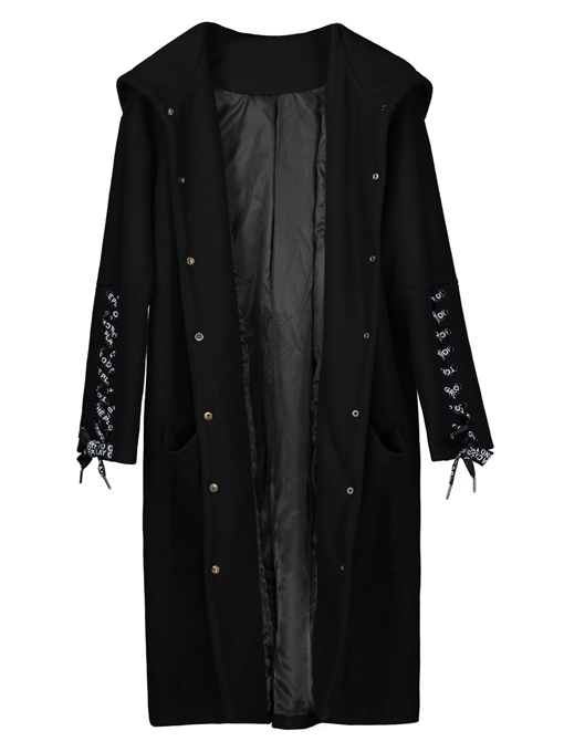 Ericdress Single-Breasted Lace-Up Long Hooded Women's Overcoat