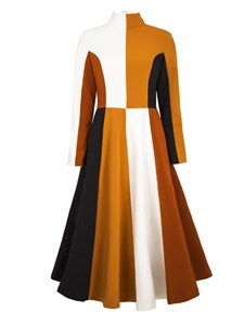 Ericdress High Neck Long Sleeves Color Block A Line Dress