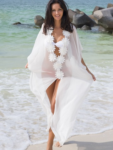 Ericdress See-Through Chiffon Appliques Long Beach Cover Ups