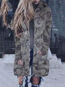 Ericdress Thin Mid-Length Camouflage Trench Coat