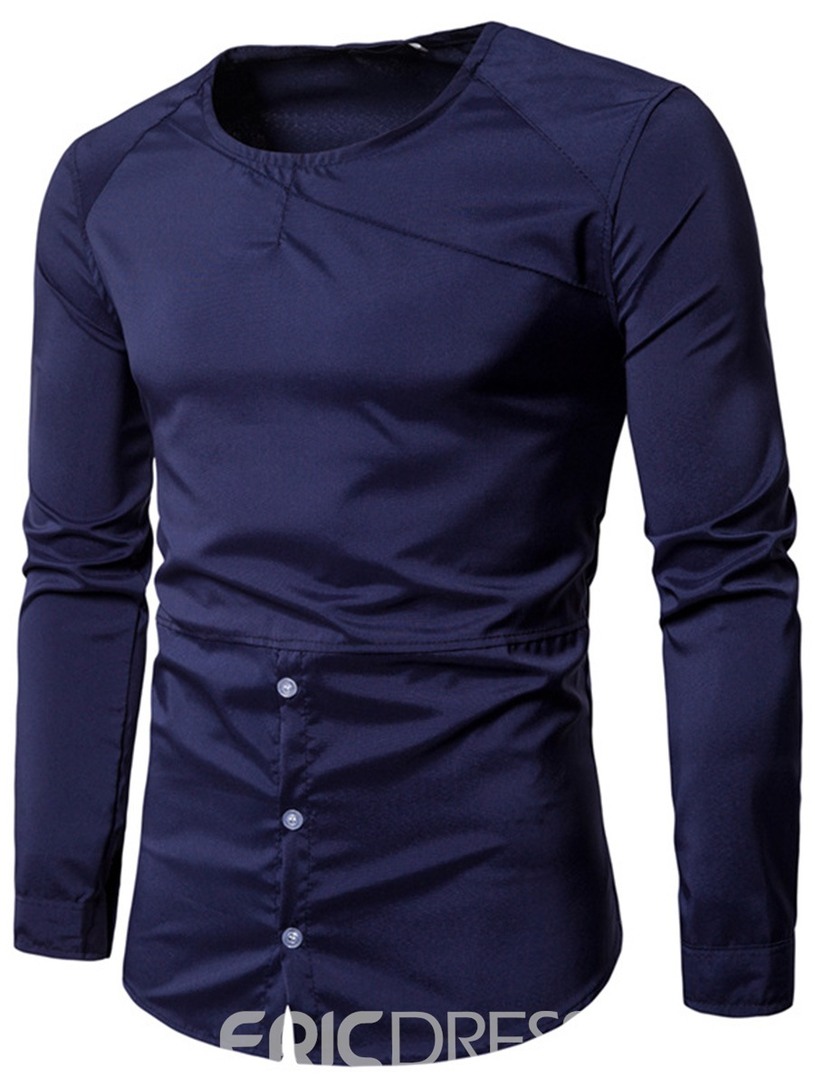 Ericdress Fashion Round Neck Long Sleeve Slim Mens T-Shirt