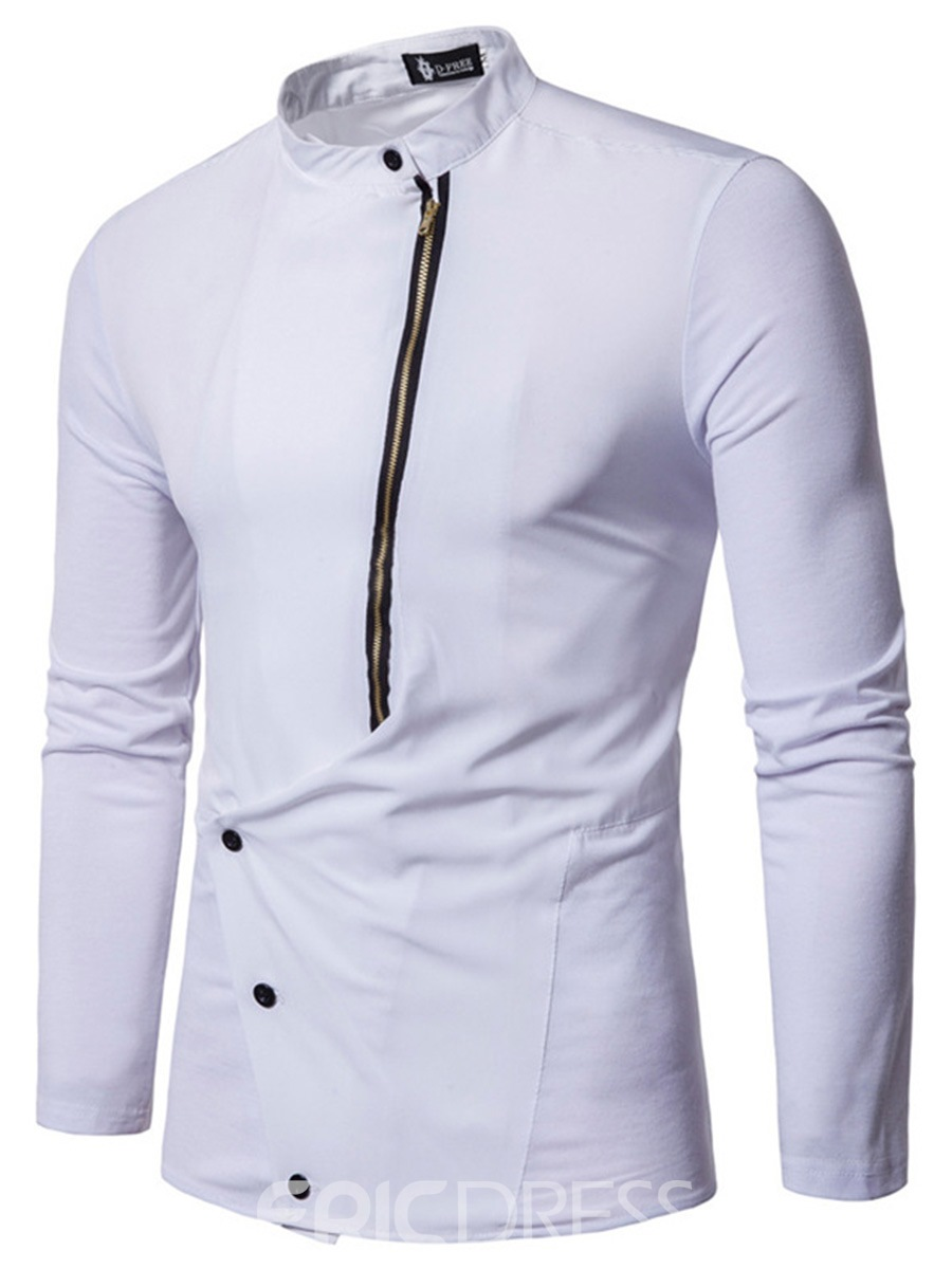 Ericdress Fashion Oblique Zip Stand Collar Slim Mens Shirt