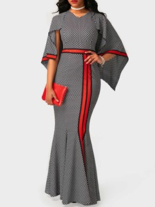 Ericdress Plaid Batwing Sleeve Mermaid Maxi Dress