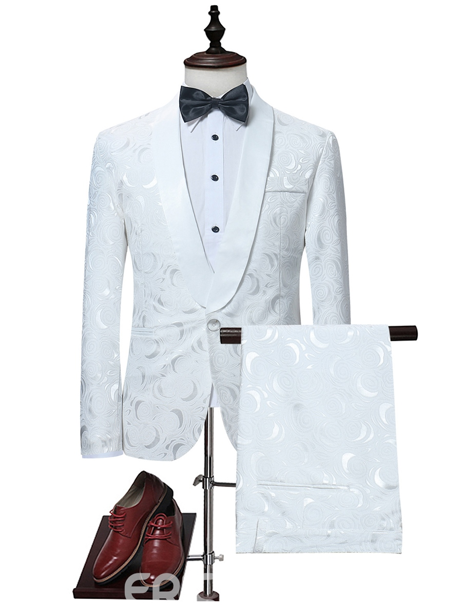 Ericdress White Print Three-piece Mens Suit