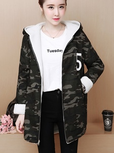 Ericdress Zipper Camouflage Mid-Length Hooded Coat