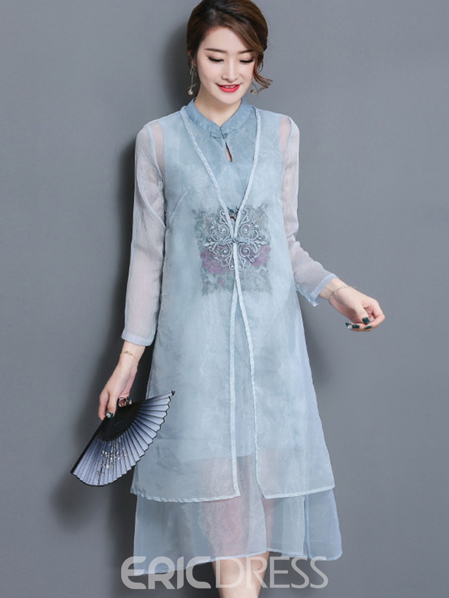 Ericdress Retro Mid-length Shirt And Embroidery Mid-calf Dress Womens Suit