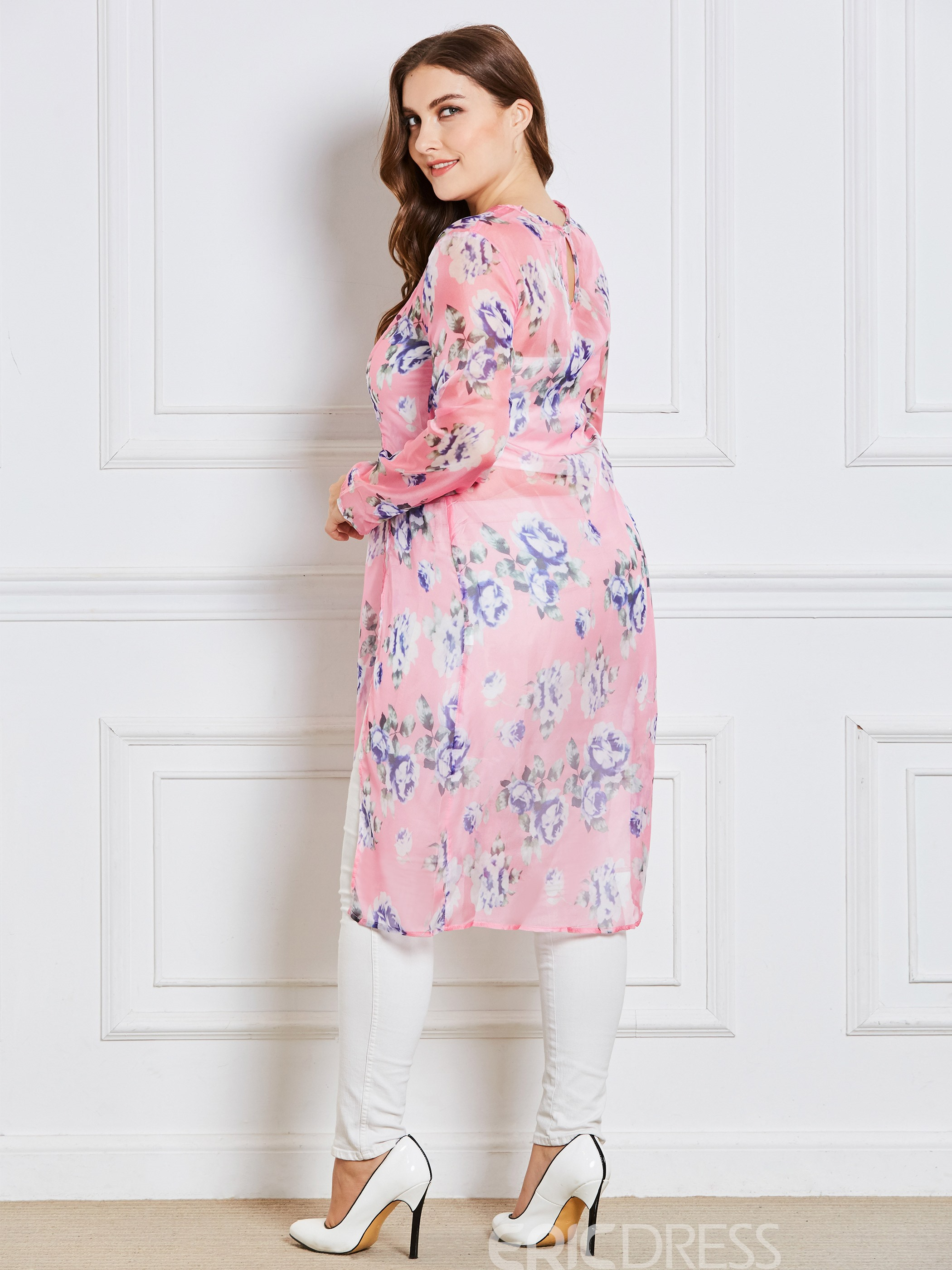 Ericdress Plus-Size Mid-Length Print Floral Blouse