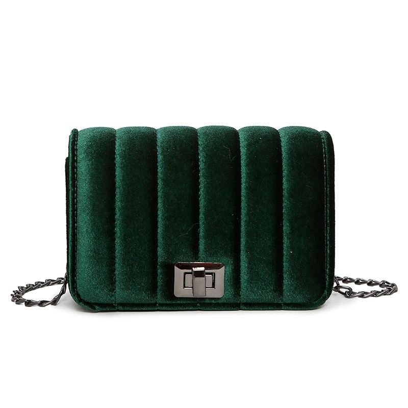 Ericdress Solid Color Velvet Chain Crossbody Bag