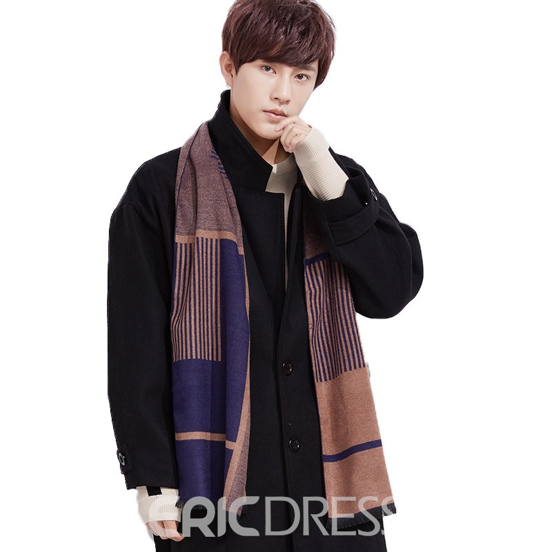 Ericdress Charming Imitation Cashmere Grid Knitting Men's Scarf