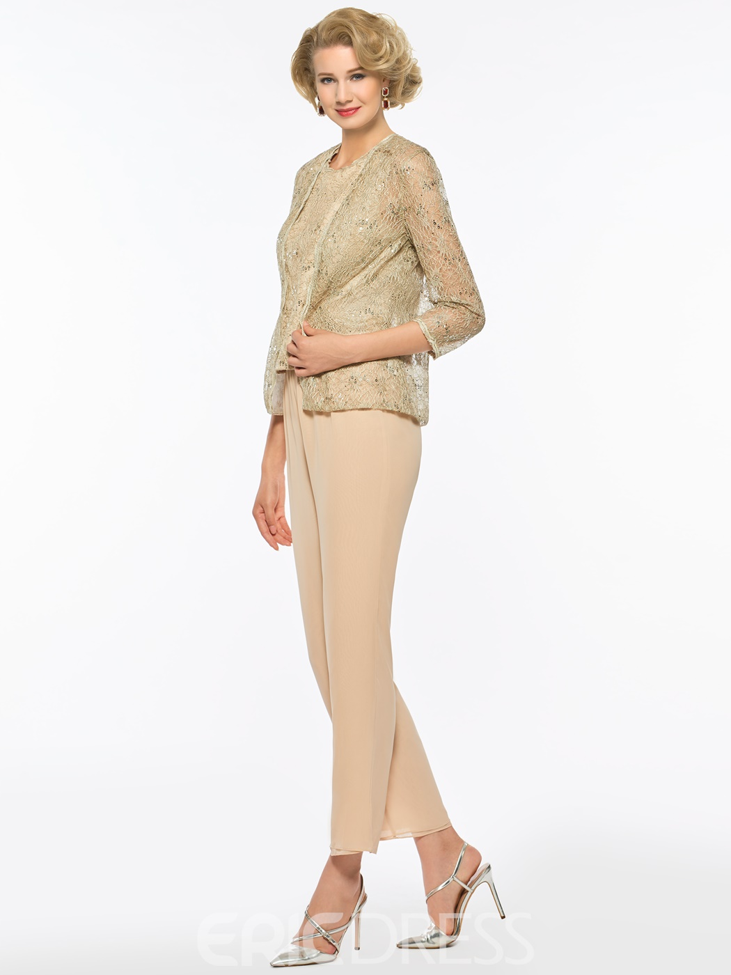 Ericdress 3 Pieces Sequins Mother of The Bride Junpsuit with Lace Jacket