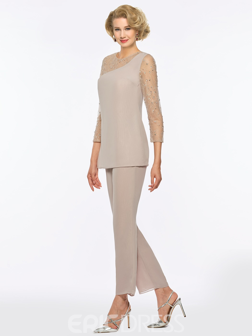 Ericdress Chiffon Mother of the Bride Jumpsuit with Sleeves