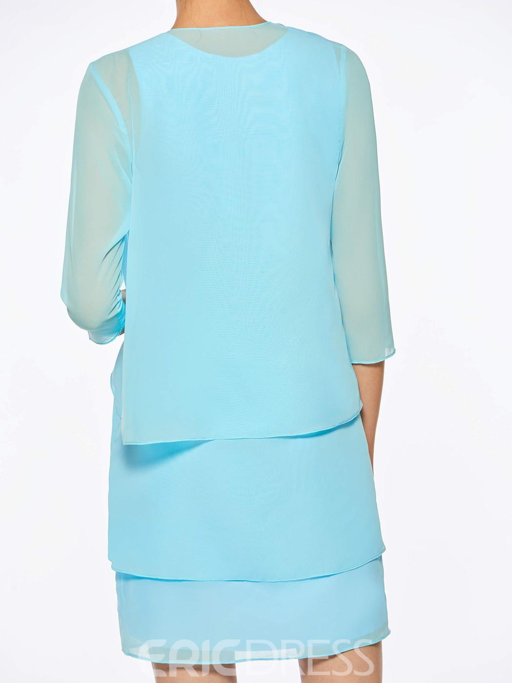 Ericdress Chiffon Short Mother of The Bride Dress with Half Sleeves Jacket
