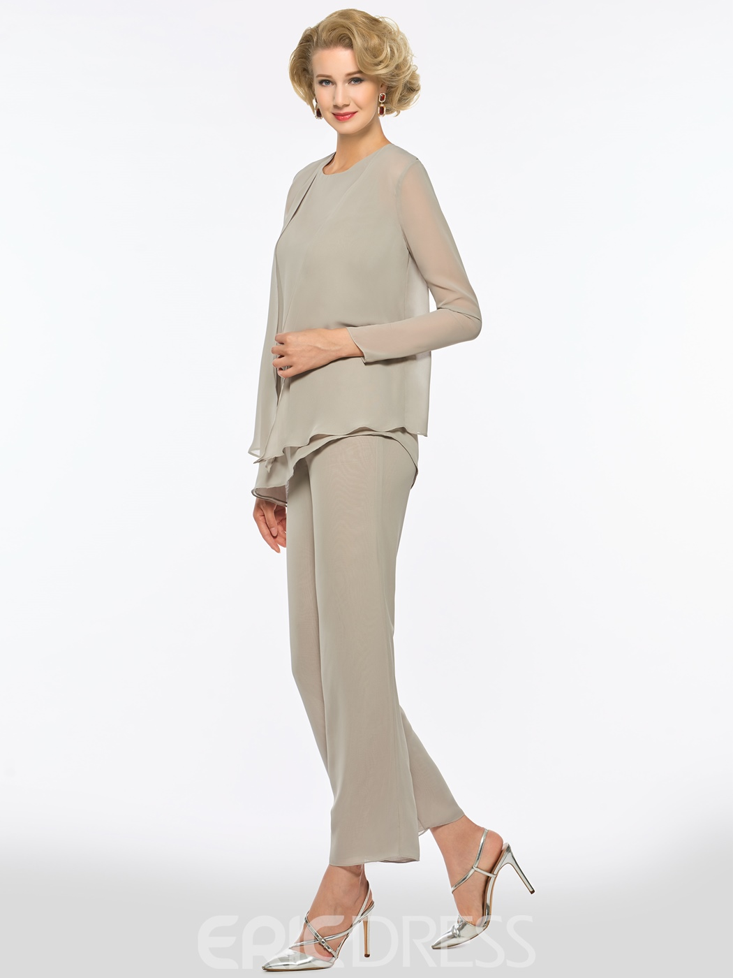 Ericdress Scoop Long Sleeves Chiffon Mother of the Bride Jumpsuit