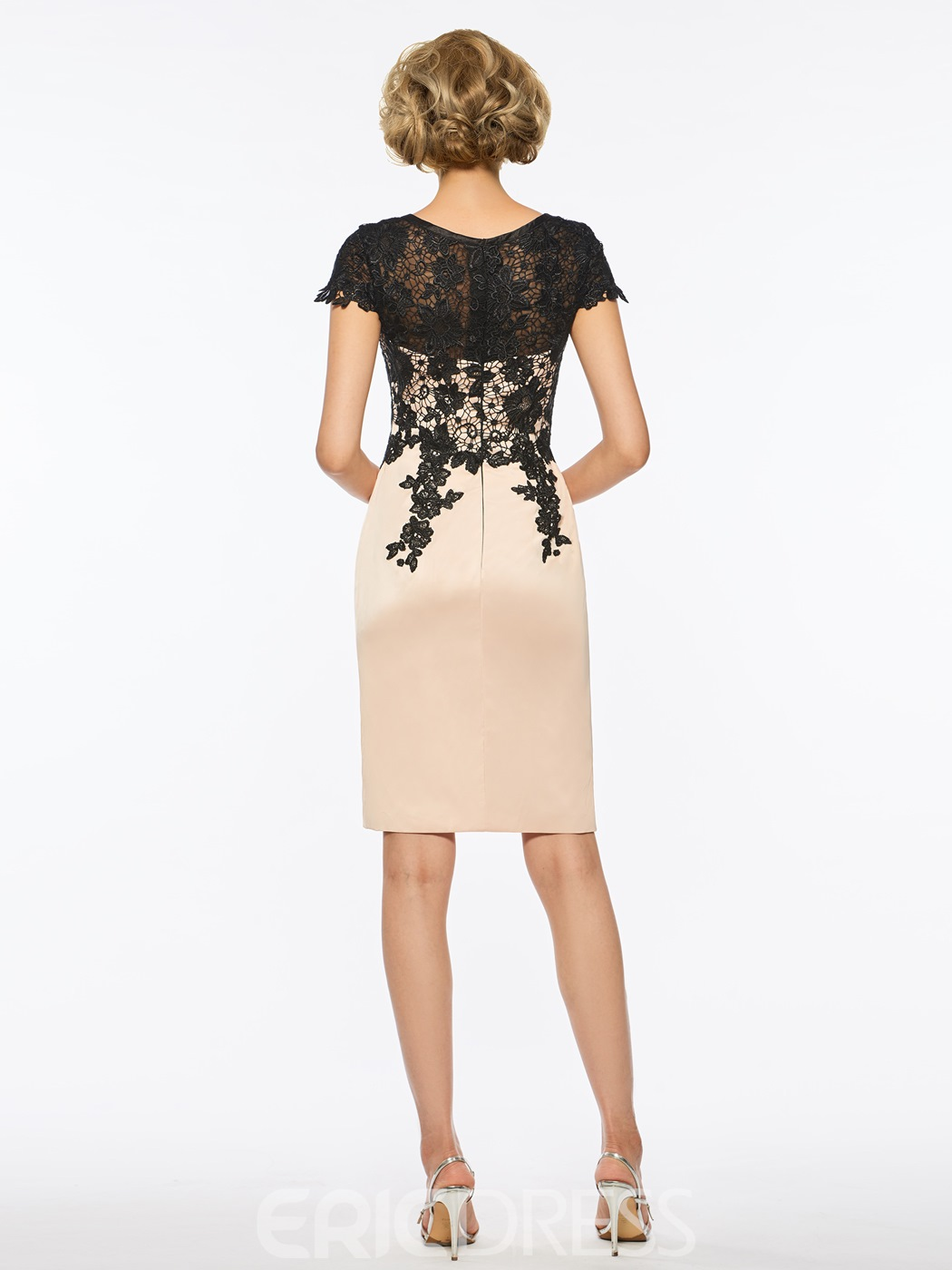 Ericdress Scoop Lace Sheath Knee Length Mother Dress with Half Sleeves Jacket