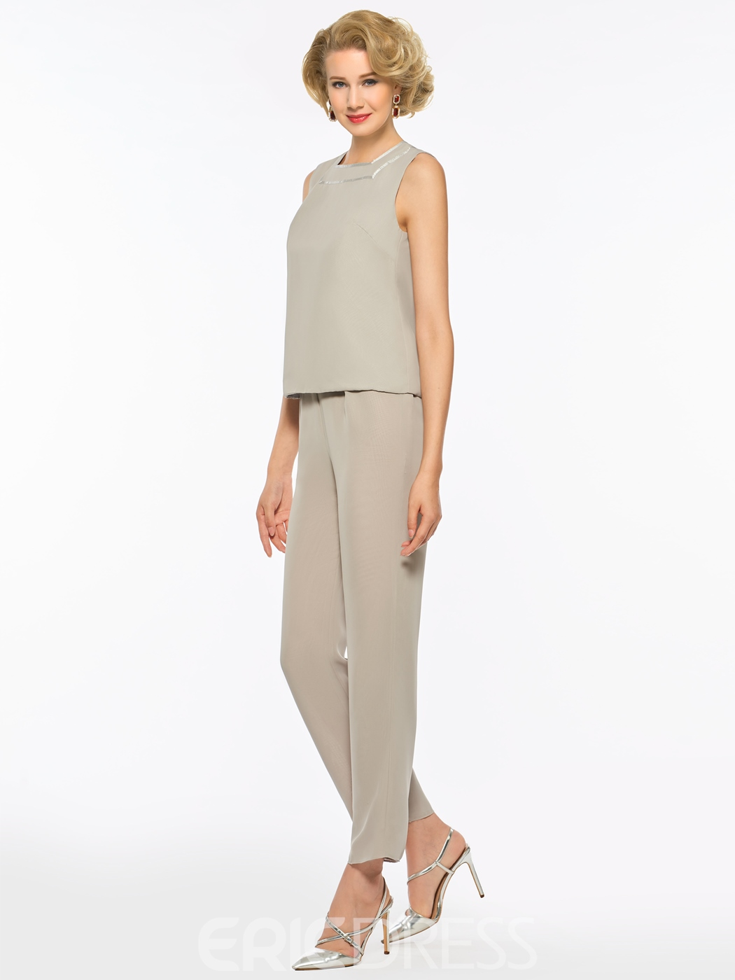 Ericdress Square Chiffon Mother of the Bride Jumpsuit with Jacket
