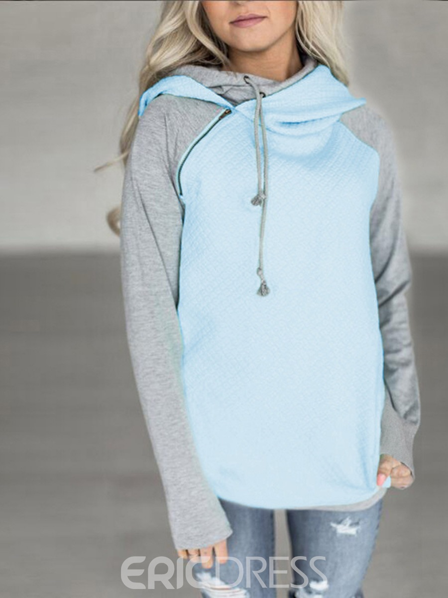 Ericdress Asymmetric Patchwork Mid-Length Cool Hoodie