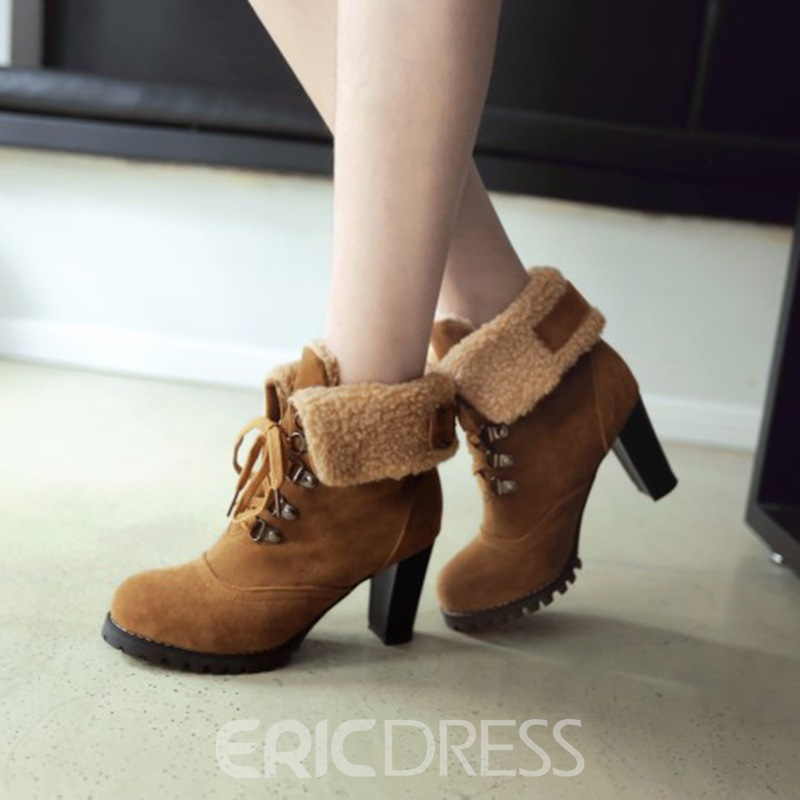 Ericdress Plain Lace-Up Round Toe Chunky Heel Ankle Boots