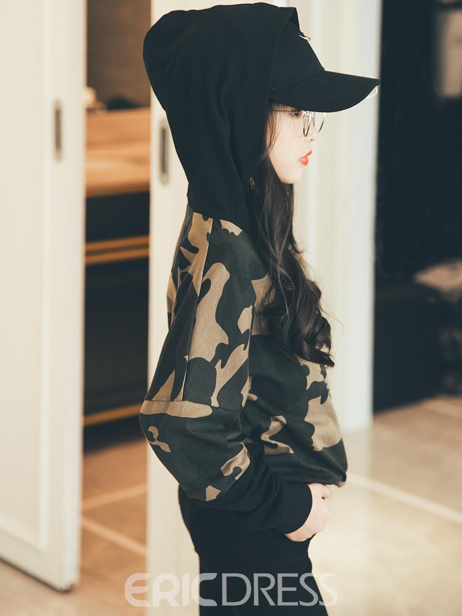 Ericdress Camouflage Print Long Sleeve Hedging Girl's Hoodie