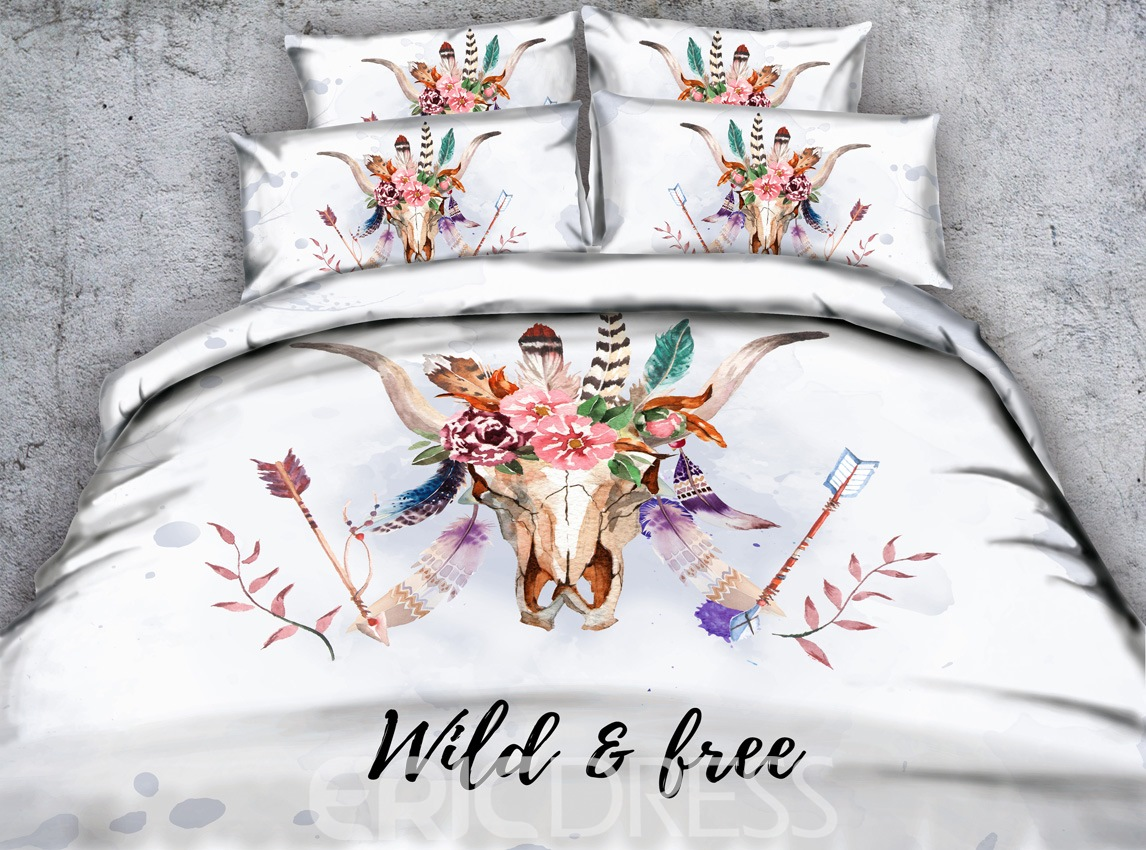 Vivilinen 3D Cow Skull with Feathers Printed 4-Piece White Bedding Sets/Duvet Covers