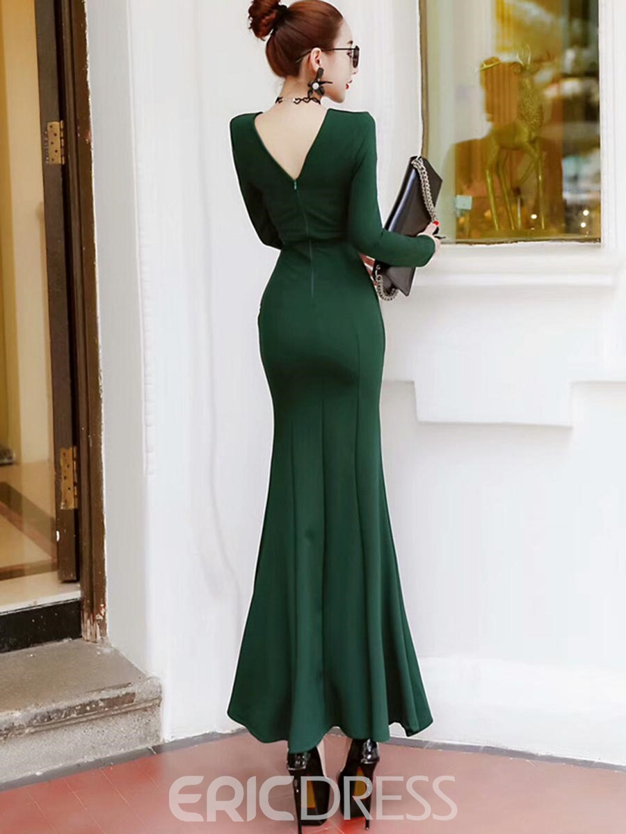 Ericdress V-Neck Mermaid With Side Slit Maxi Dress