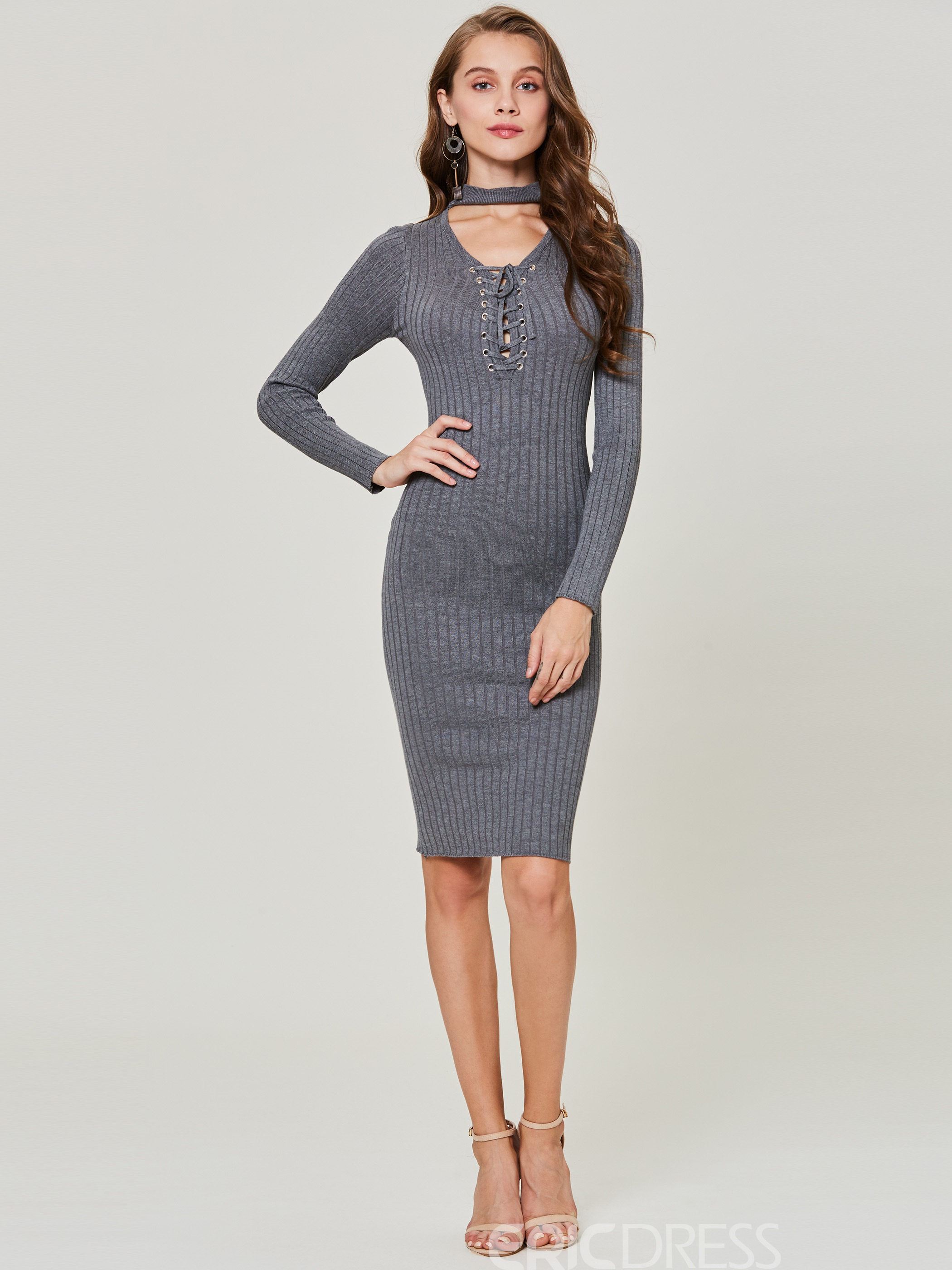 e3cbe6dad0 Ericdress V-Neck Plain Lace-Up Pullover Sweater Dress 13057706 ...