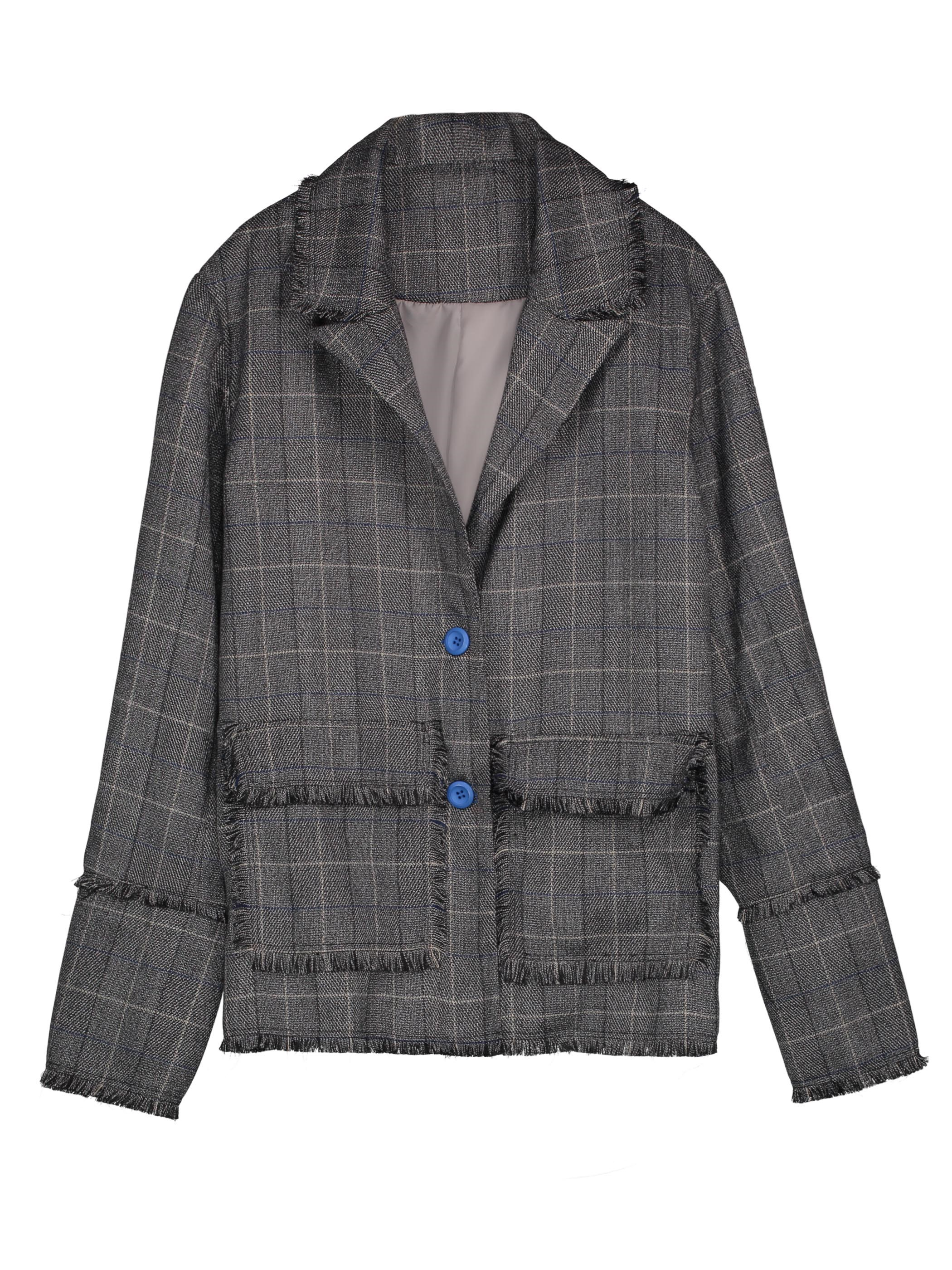Ericdress Notched Lapel Single-Breasted Plaid Women's Jacket