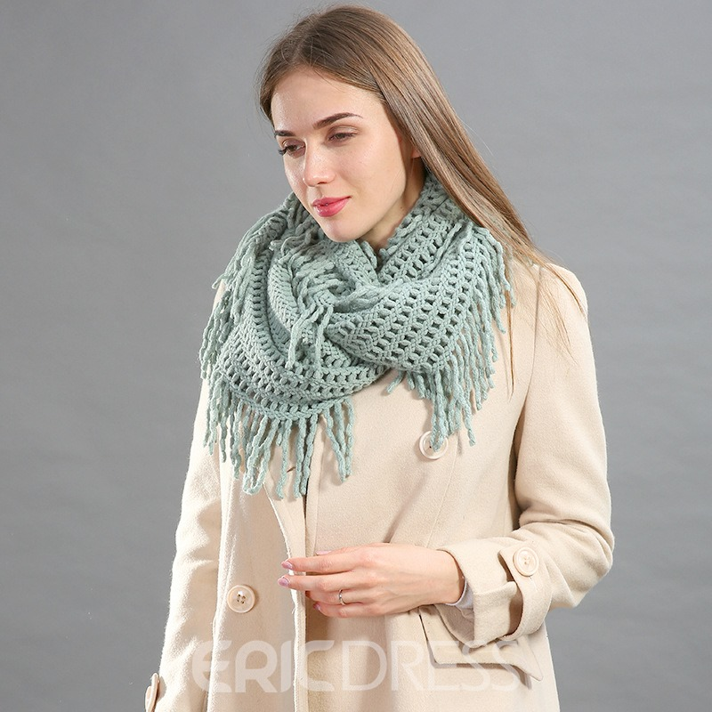 Ericdress Pure Color Knitting Hollow Out Tassel Scarf for Women