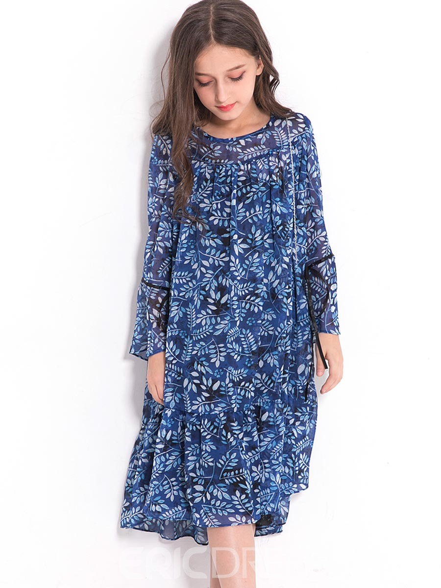 Ericdress Floral Round Neck Long Sleeve Girl's Mid-Calf Dress