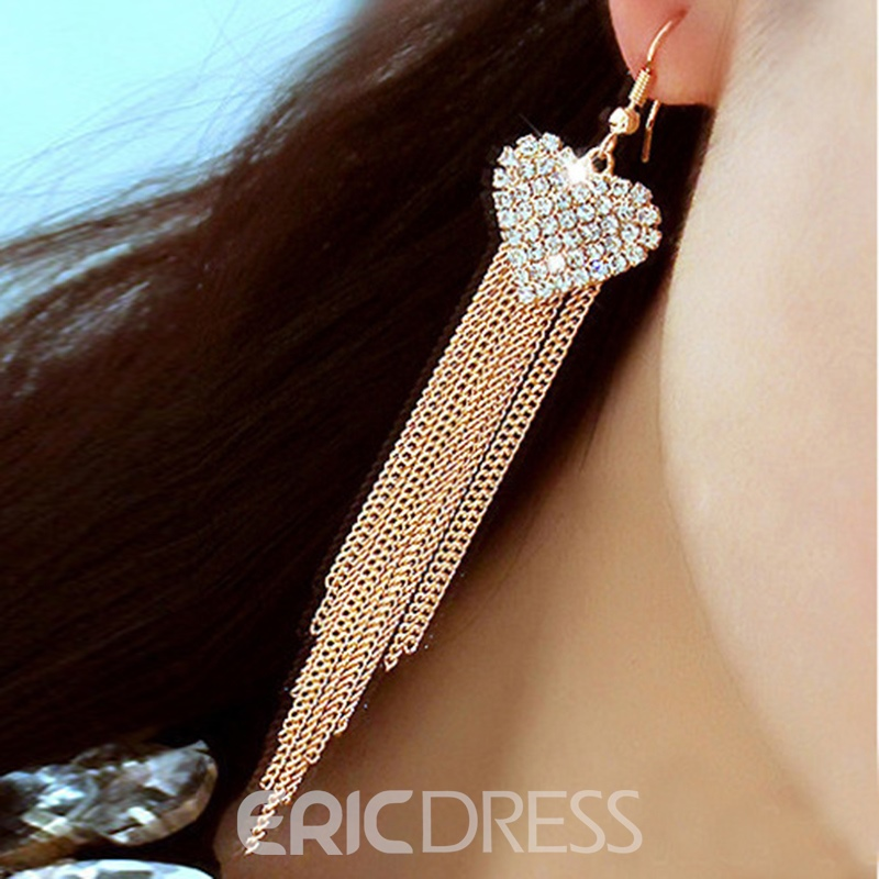 Ericdress Charming Alloy Diamante Heart Women's Long Drop Earring