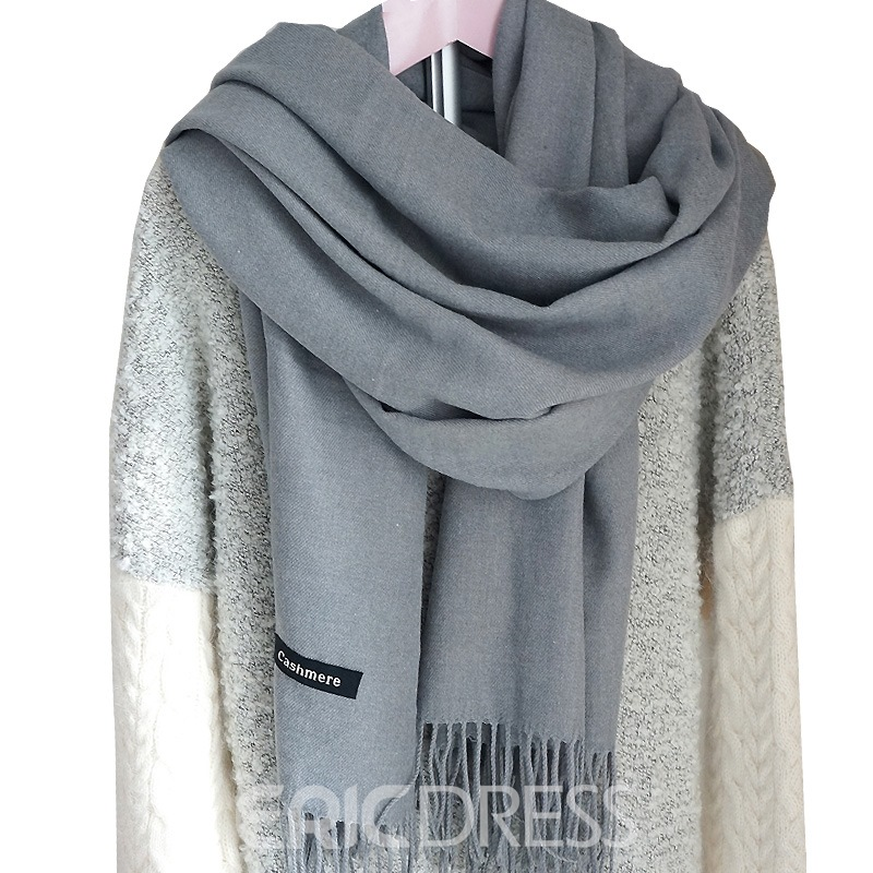 Ericdress High-End Pure Color Tassel Cashmere Warm Scarf