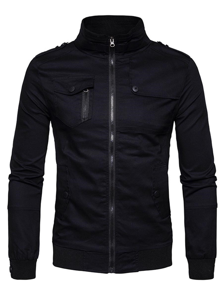 Ericdress Plain Stand Collar Zip Pocket Slim Men's Jacket