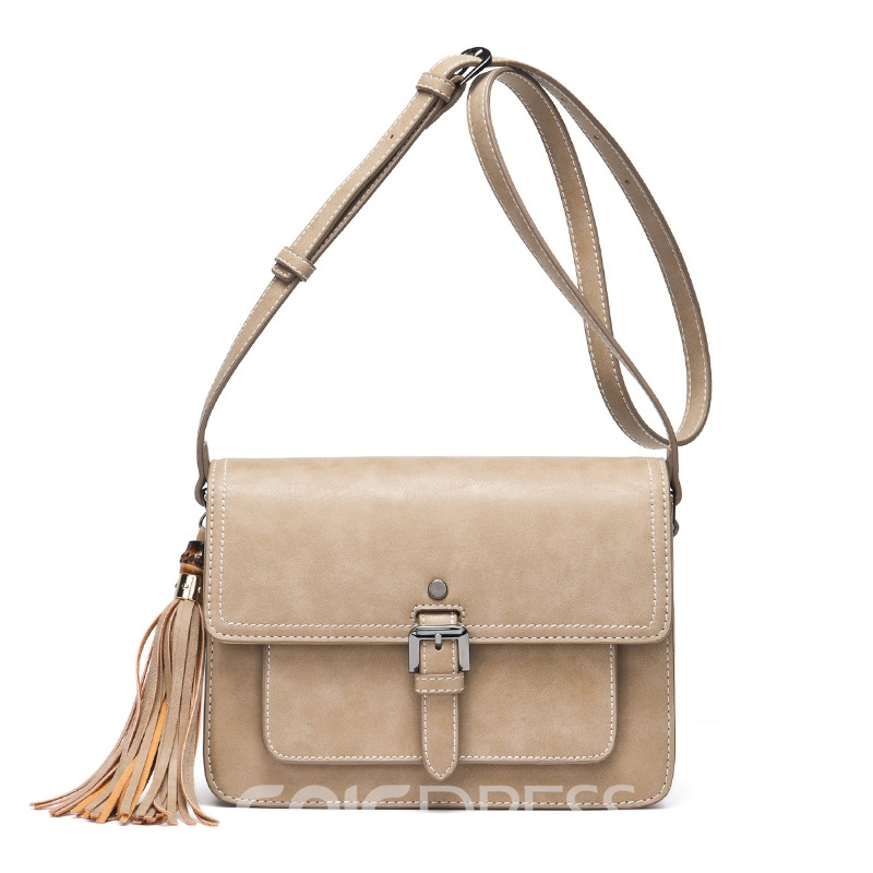 Ericdress Korean Style Tassel Solid Color Crossbody Bag