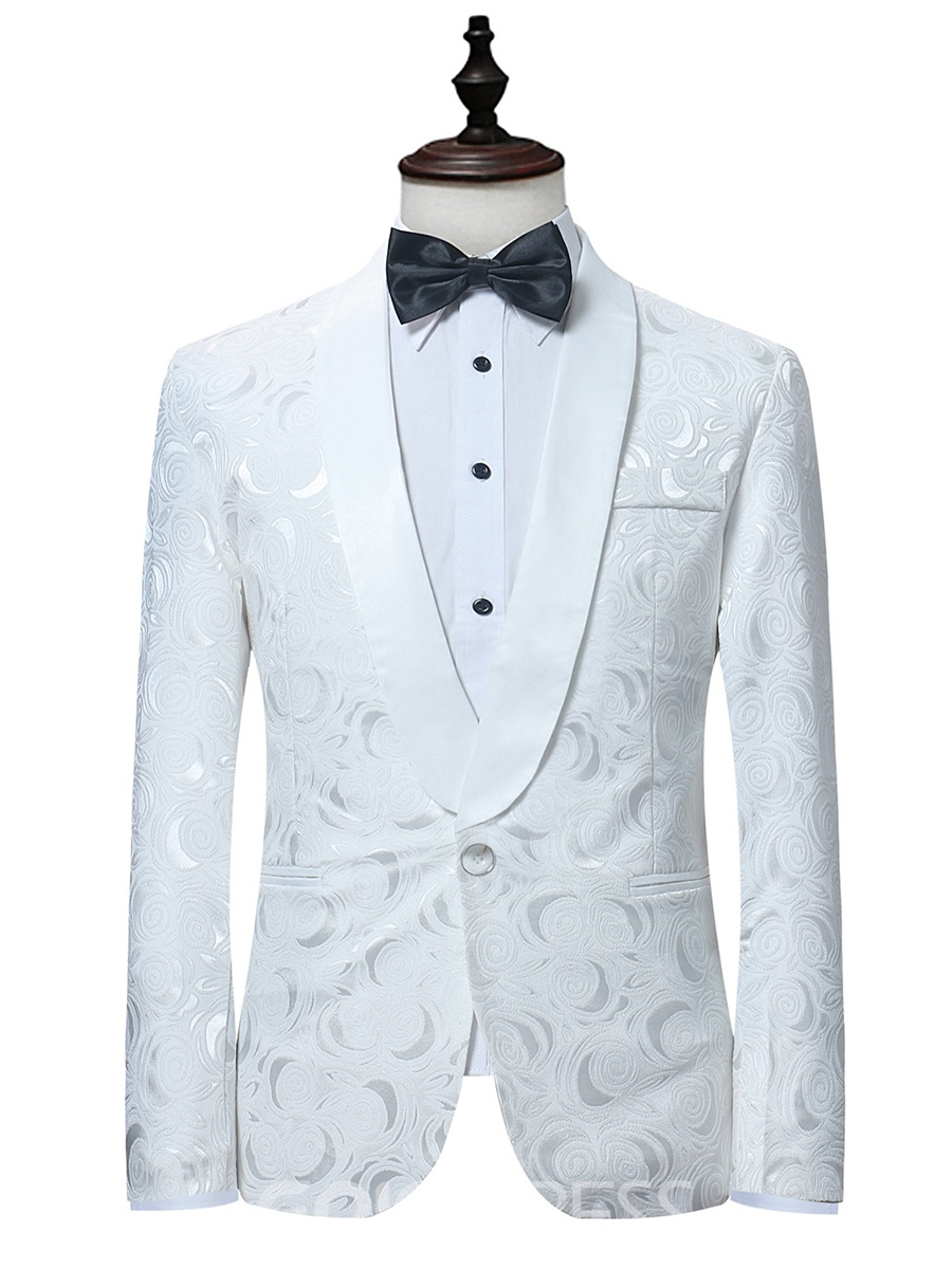 Ericdress White Print Fit Men's Suit