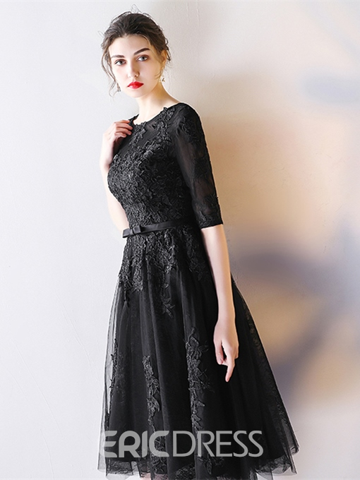 Ericdress Half Sleeve Lace Black Homecoming Dress