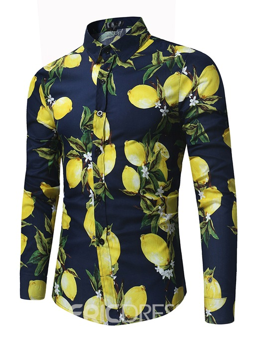 Ericdress Floral Print Lapel Slim Men's Cotton Shirt