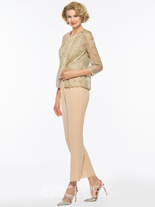 Ericdress 3 Pieces Sequins Mother of The Bride Pantsuits with Jacket