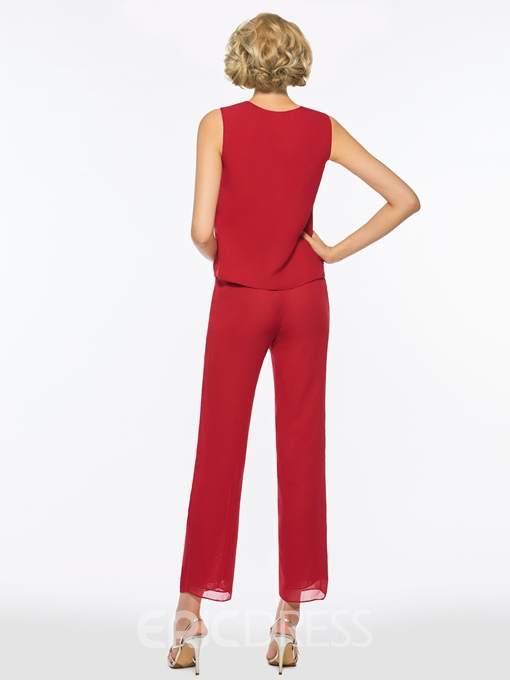 Ericdress Scoop Beaded Chiffon Long Sleeves Mother of the Bride Jumpsuit