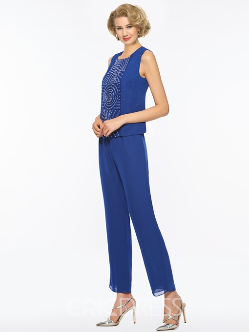 Ericdress Chiffon Beaded Long Sleeves Mother of the Bride Jumpsuit