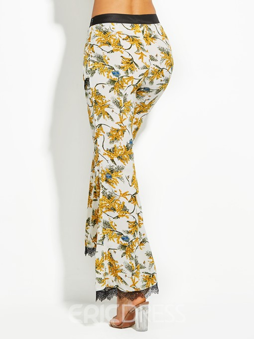 Flower Print Full Length Women's Bellbottoms
