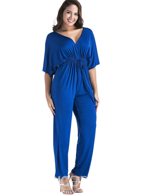 Ericdress Plus Size Plain Full Length Slim Mid Waist Jumpsuit