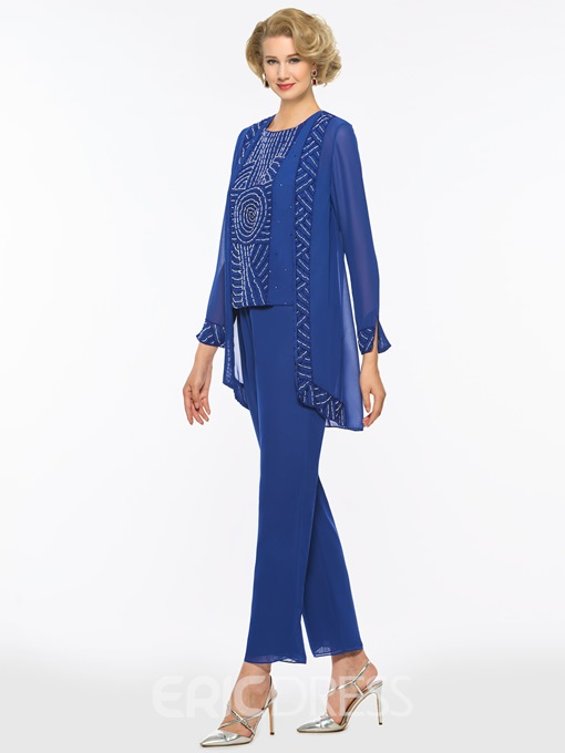 Ericdress 3 Pieces Beaded Long Sleeves Mother of the Bride Pantsuits
