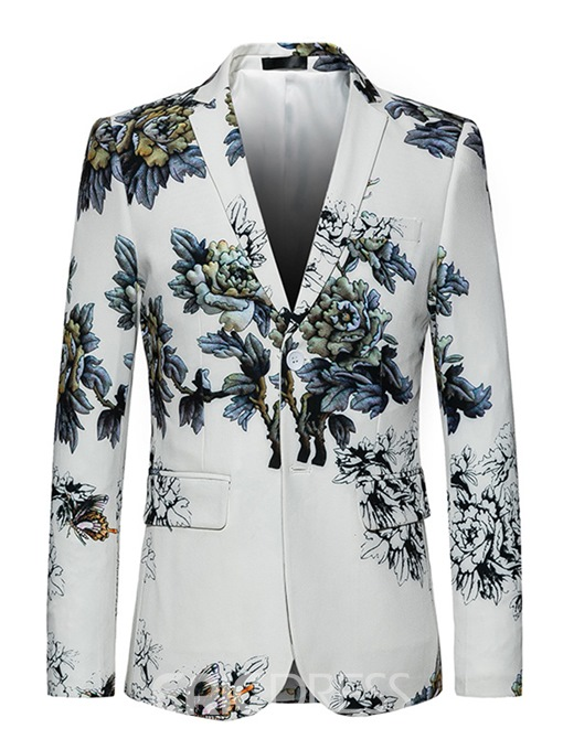 Ericdress Floral Notched Lapel Two Button Vogue White Slim Men's Blazer