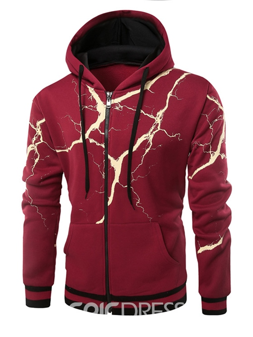 Ericdress Hooded Flash Print Fleece Men's Hoodie
