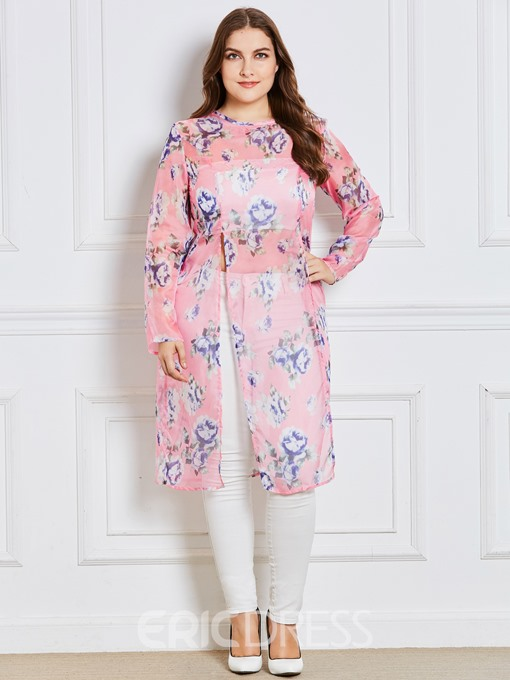 Ericdress Plus-Size Mid-Length Print Floral Plus-Size Blouse