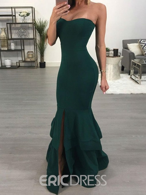 Ericdress Mermaid Ruffle Plain Floor Length Maxi Dress