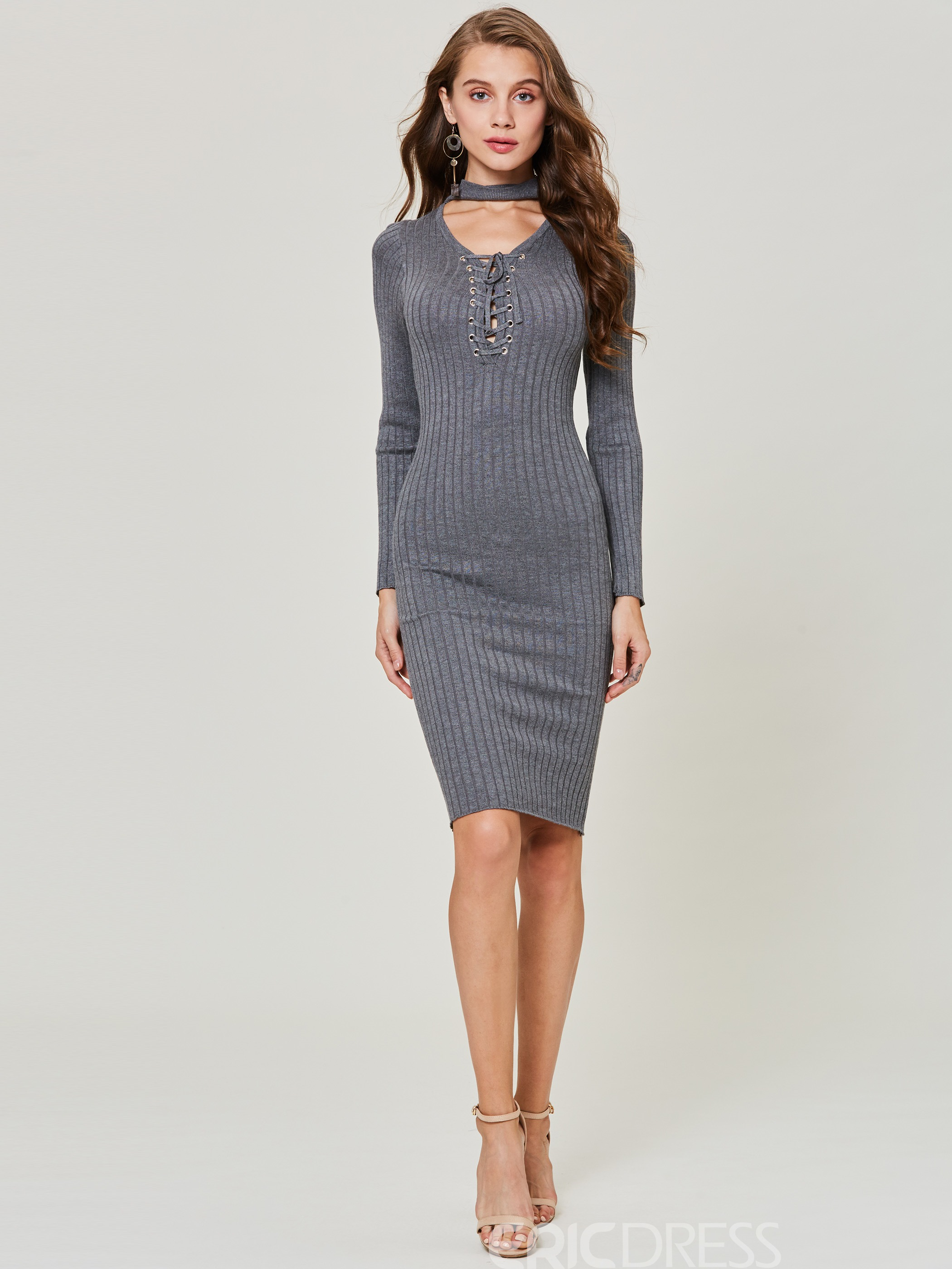 Ericdress V-Neck Plain Lace-Up Pullover Sweater Dress