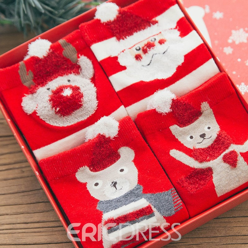 Adult's Chirstmas Gifts Box Candy Socks for Women 4 Packs