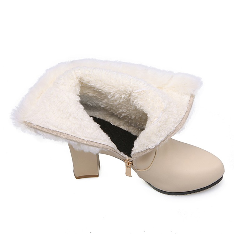 ... Ericdress Chic Fuzzy Buckle Platform Women's Chunky Heel Ankle Boots ...